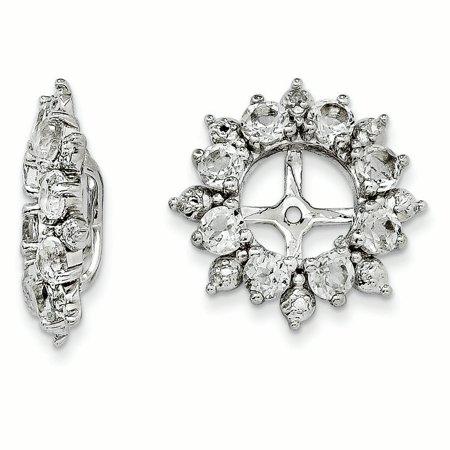 Sterling Silver Rhodium Diam. & White Topaz Earring Jacket QJ119APR (1.42 grams|15MM x 15MM) (White Diamond Earring Jackets)
