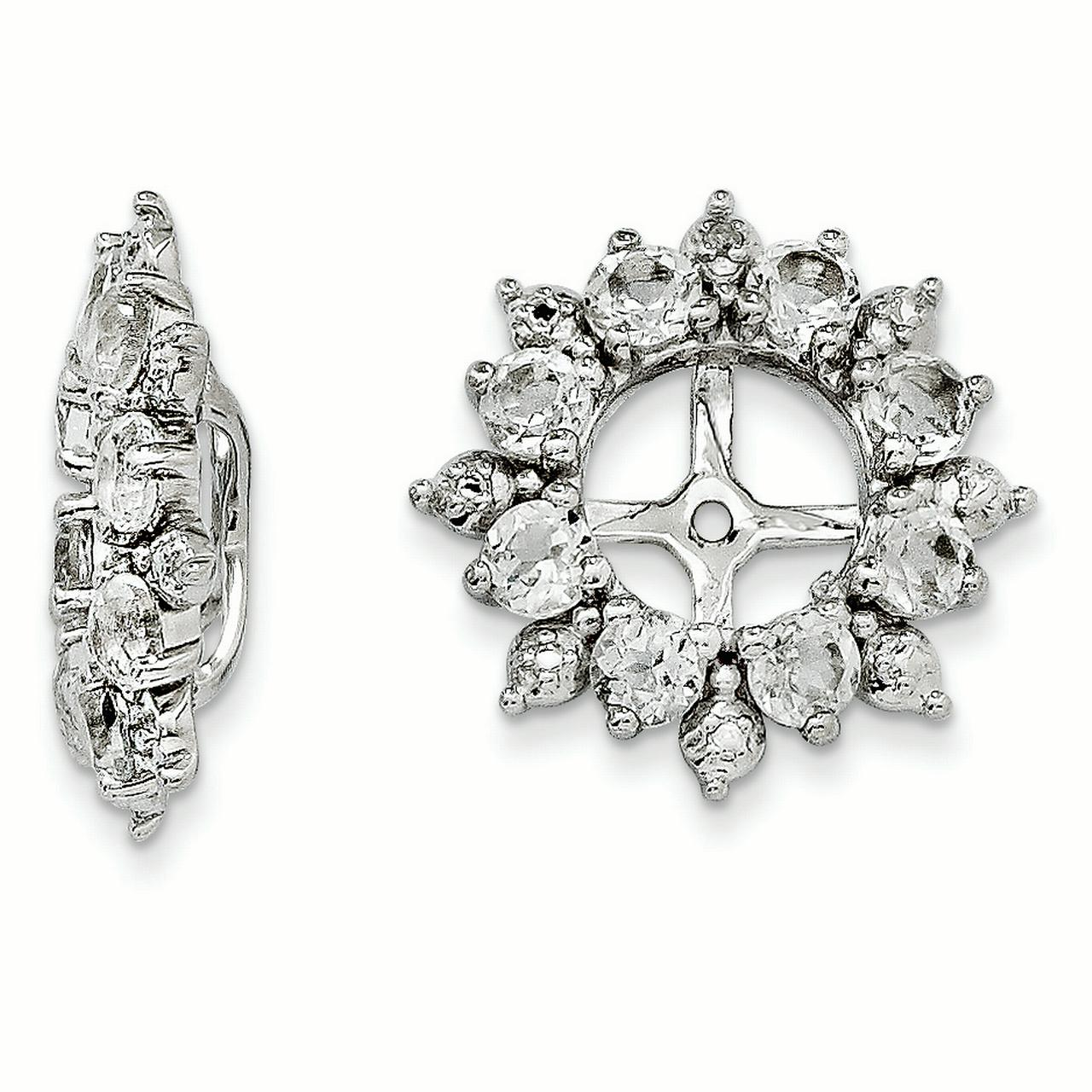 Sterling Silver Diamond & White Topaz Earring Jacket