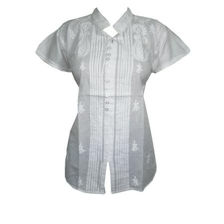f8eb907e6f7 Mogul Interior - Mogul Womens Tunic Tops Floral Embroidered Cotton White Top  - Walmart.com