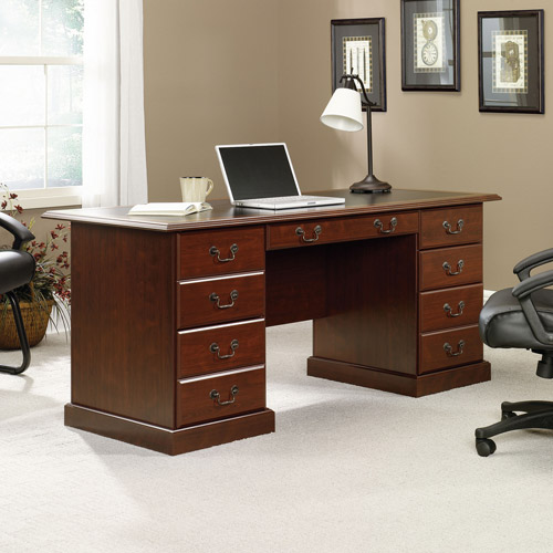 Great Get Sauder W Heritage Hill Double Pedestal Desk Classic Cherry from Office Depot u OfficeMax