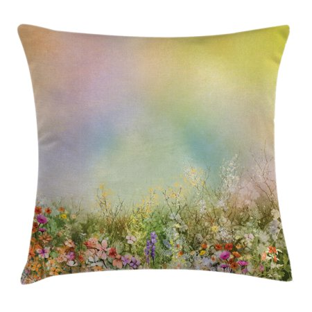 - Watercolor Flower Home Decor Throw Pillow Cushion Cover, Cosmos Daisy Cornflower Wildflower Dandelion in Floral Meadow Scene, Decorative Square Accent Pillow Case, 16 X 16 Inches, Multi, by Ambesonne