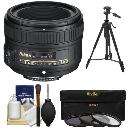 Nikon 50mm f/1.8 G AF-S Nikkor Lens with 3 (UV/CPL/ND8) Filter Set   Tripod   Accessory Kit for Digital SLR Cameras
