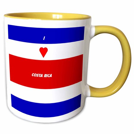 3dRose I Love Costa Rica - Two Tone Yellow Mug, 11-ounce