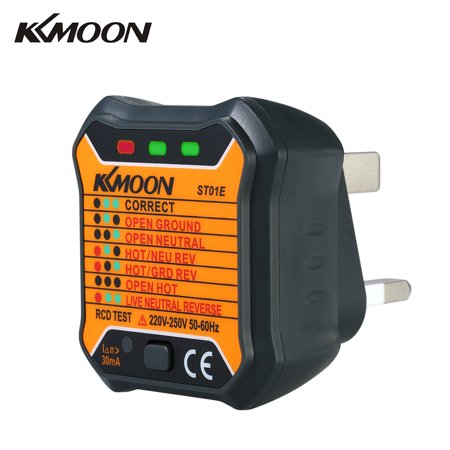 KKmoon Advanced RCD Electric Socket Tester Automatic Neutral Live Earth Wire Testing Circuit Polarity Detector Wall Plug Breaker Finder Electric Leakage - Polarity Test