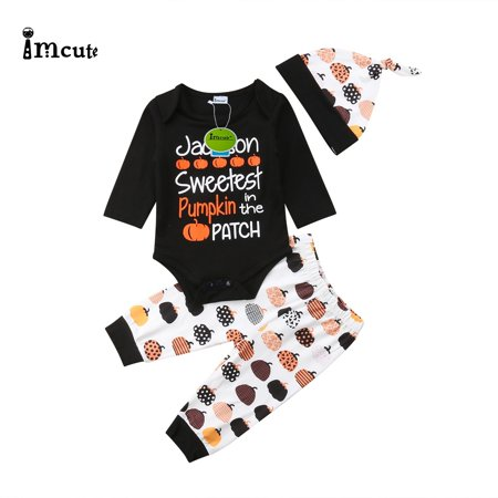 Newborn Kids Baby Boys Girls Halloween Clothes Romper Pants Hat Outfit Set 3Pcs - Newborn Halloween Outfit