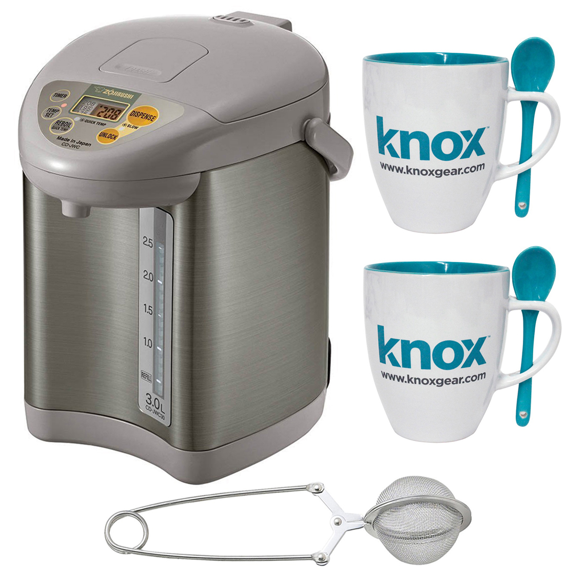 Zojirushi CD-JWC30 Micom Water Boiler and Warmer + Tea Infuser and Knox Mugs
