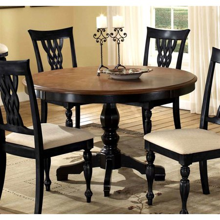round pedestal dining table in rubbed black cherry