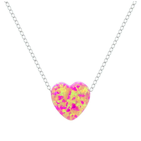 Created Pink Tourmaline Pendant - Sterling Silver Jewelry Created Opal Pink Heart Necklace, 16 Chain