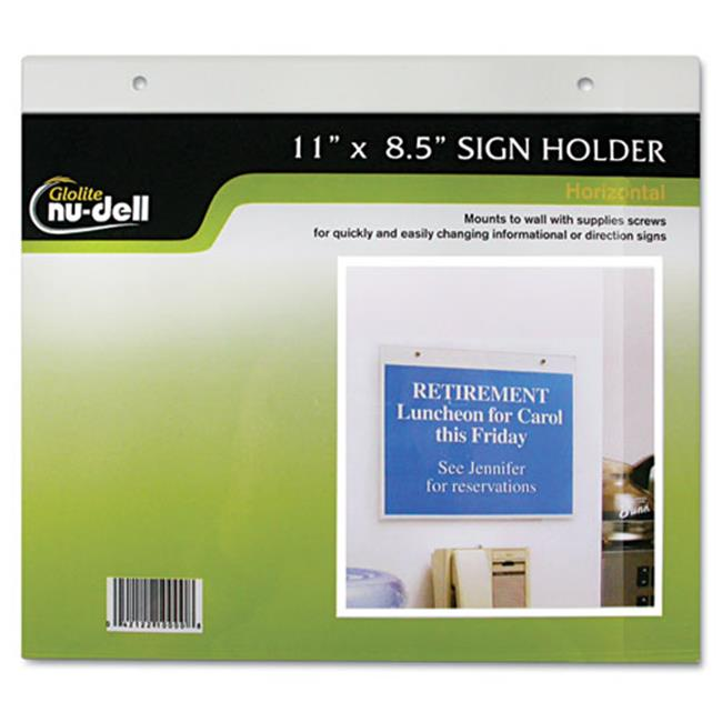 Glolite Nudell, Llc 38008Z Clear Plastic Sign Holder, Wall Mount, 8 1/2 x 11
