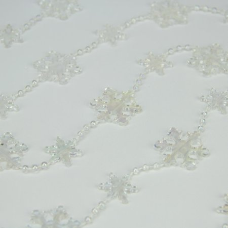 Clear Iridescent Snowflake Beaded Christmas Garland 8' x - Beaded Snowflakes