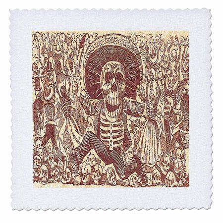 3dRose Vintage Halloween Skeleton Party - Quilt Square, 10 by 10-inch