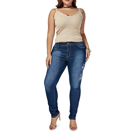 JDinms Women Plus Size Floral Embroidered Jeans Stretch Skinny Denim Pant