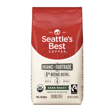 Seattle's Best Coffee 6th Avenue Bistro (Previously Signature Blend No. 4) Fair Trade Organic Dark Roast Ground Coffee, 12-Ounce - Blend Fresh Roasted Coffee