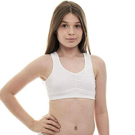 Young Berry - Beginners Crop Top Cotton Lycra Training Bra for Teen Girls  Young Women (White b407675a4