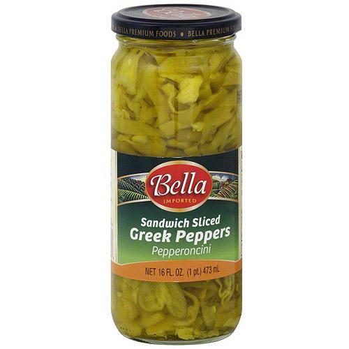 Bella Sandwich Sliced Greek Pepperoncini, 16 oz (Pack of 6)