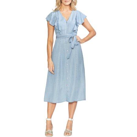 Famous Brand Womens Ruffle Front Chambray Midi Dress XXS Bayside Wash