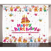 Birthday Decorations Curtains 2 Panels Set, Joyful Mouses Partying Presents and Cake with Candles Festive Cartoon, Window Drapes for Living Room Bedroom, 108W X 90L Inches, Multicolor, by Ambesonne
