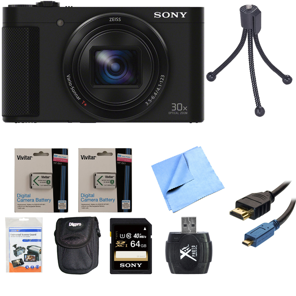 Sony Cyber-Shot DSC-HX90V/B DSC-HX90V DSC-HX90 DSCHX90B HX90 Digital Camera Black 64GB Bundle includes Screen protectors, carrying case, 64GB memory card, card reader, mini tripod, 2 spare batteries,