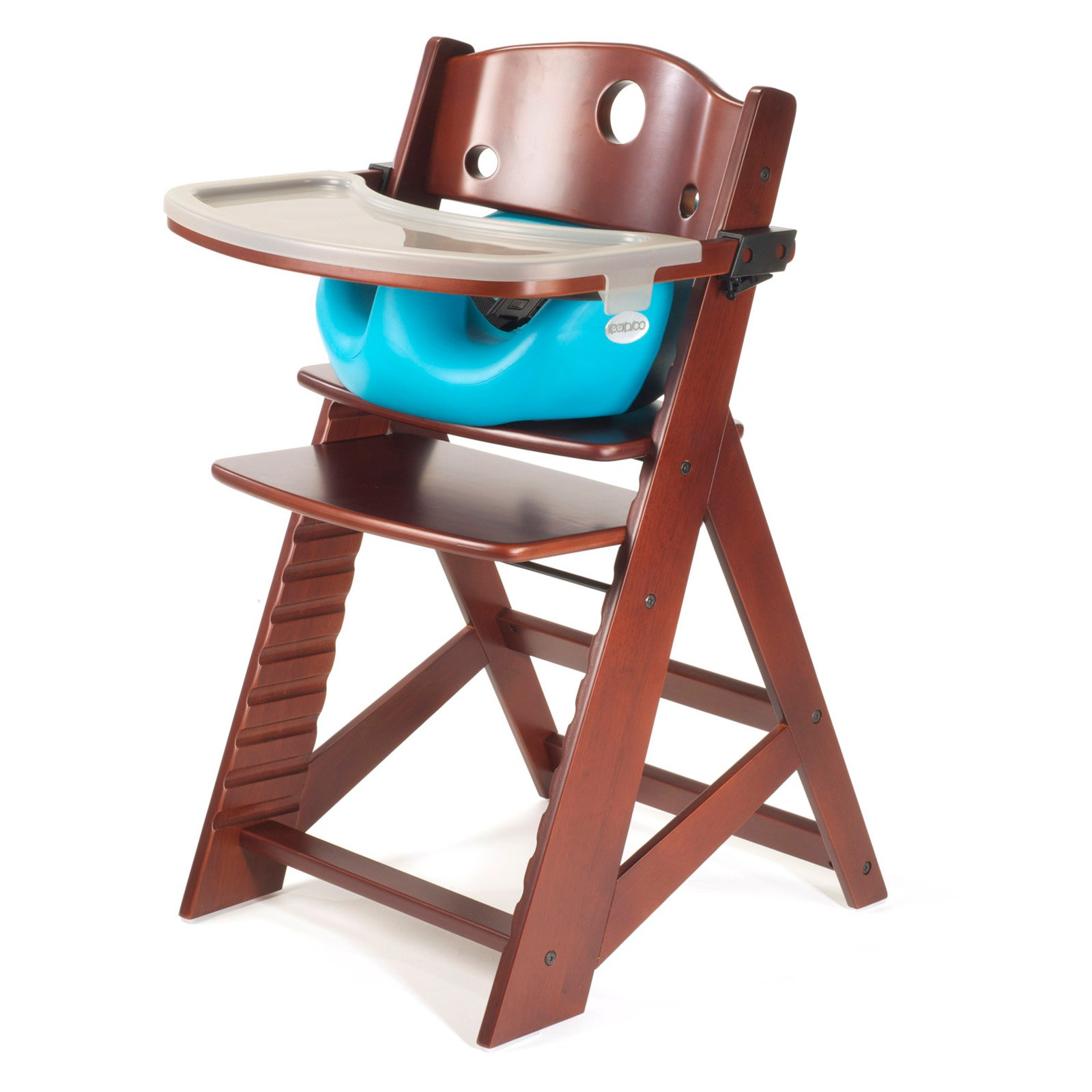 Keekaroo Height Right High Chair Mahogany with Aqua Infant Insert and Tray