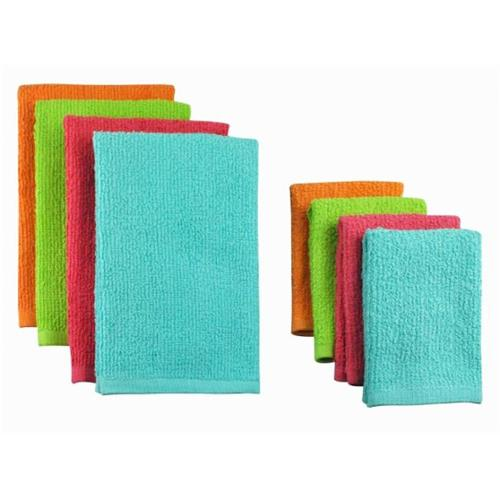 Design Imports Cos31272 Bright Terry Bar Mop Dishtowels & Dishcloths - Set Of 8 - Includes Dishtowel Set Of 4 And