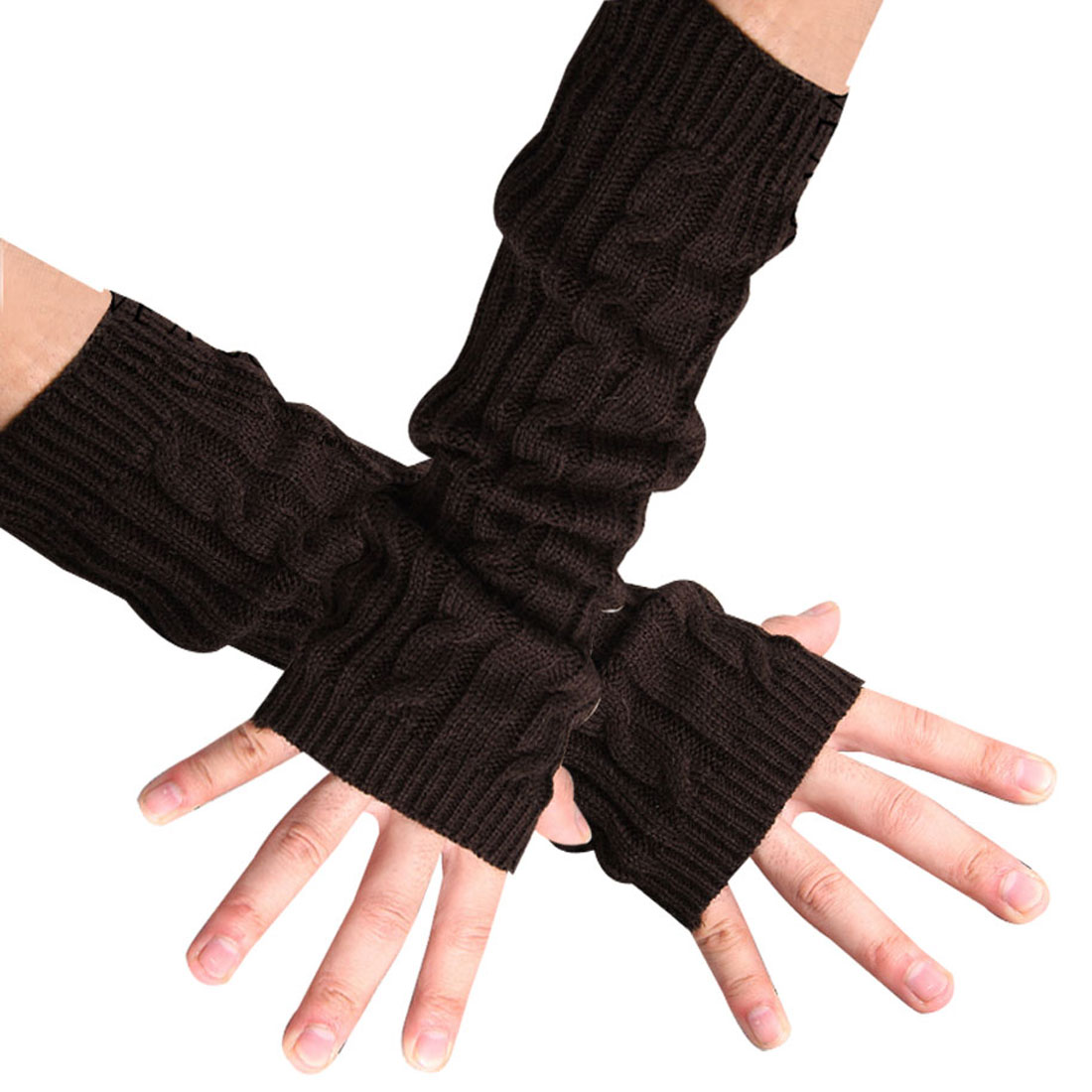 Mens One Pair Winter Thick Arm Warmers Fingerless Long Gloves