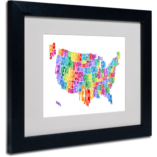 "Trademark Fine Art ""USA States Text Map 3"" Matted Framed Art by Michael Tompsett"