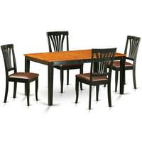 East West Furniture Nicoli 5 Piece Lath Back Dining Table Set