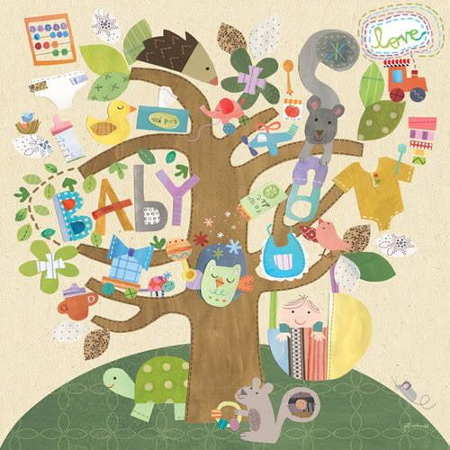 Oopsy Daisy's Rock a Bye Tree Canvas Wall Art, 24x24