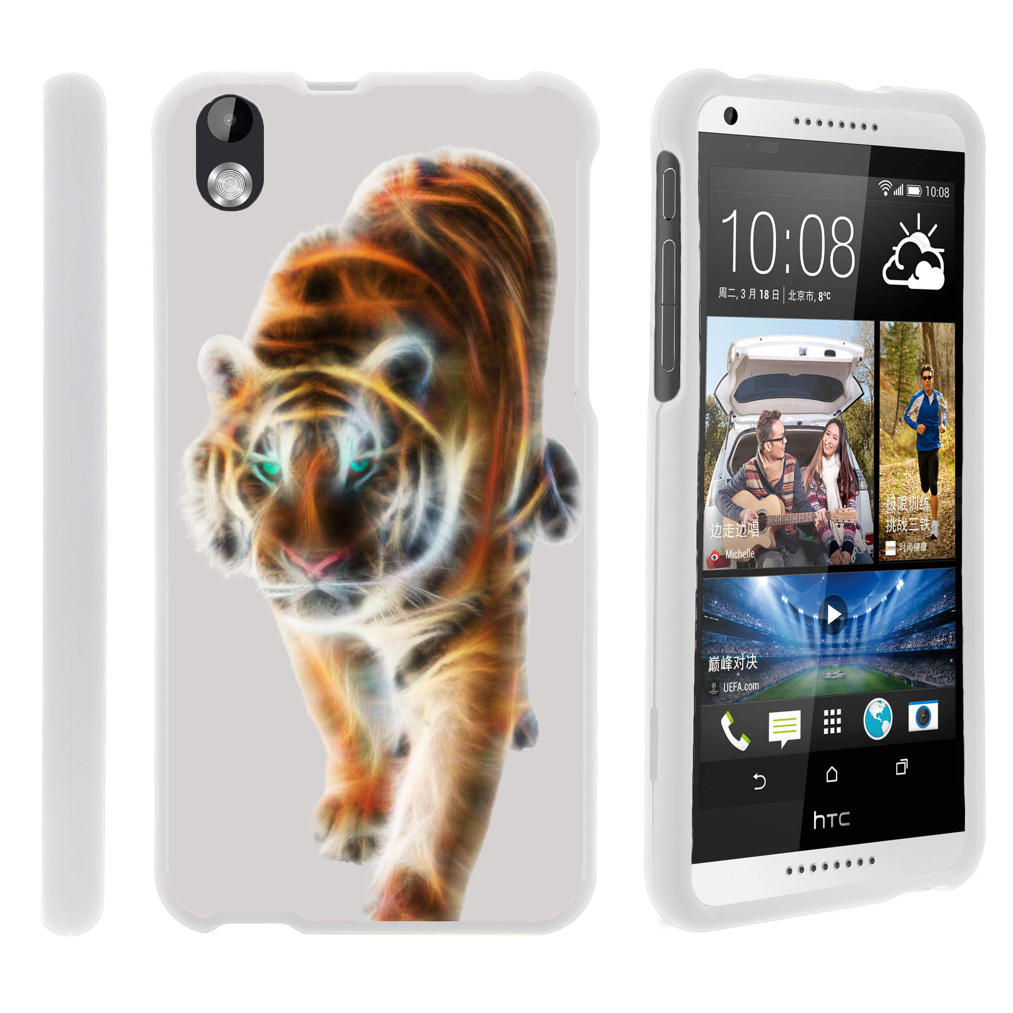 HTC Desire 816, [SNAP SHELL][White] 2 Piece Snap On Rubberized Hard White Plastic Cell Phone Case with Exclusive Art -  Blazing Tiger