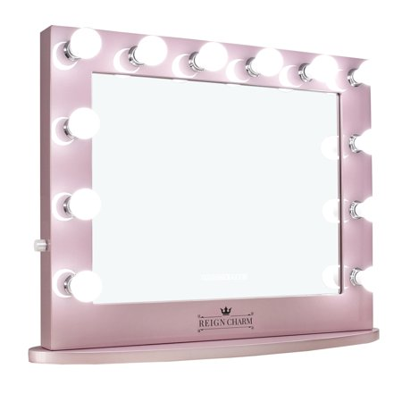 Rose Garland Mirror - ReignCharm Hollywood Vanity Mirror, 12 LED Lights, Dual Outlets & USB, 32-inches x 27-inches, Rose Gold