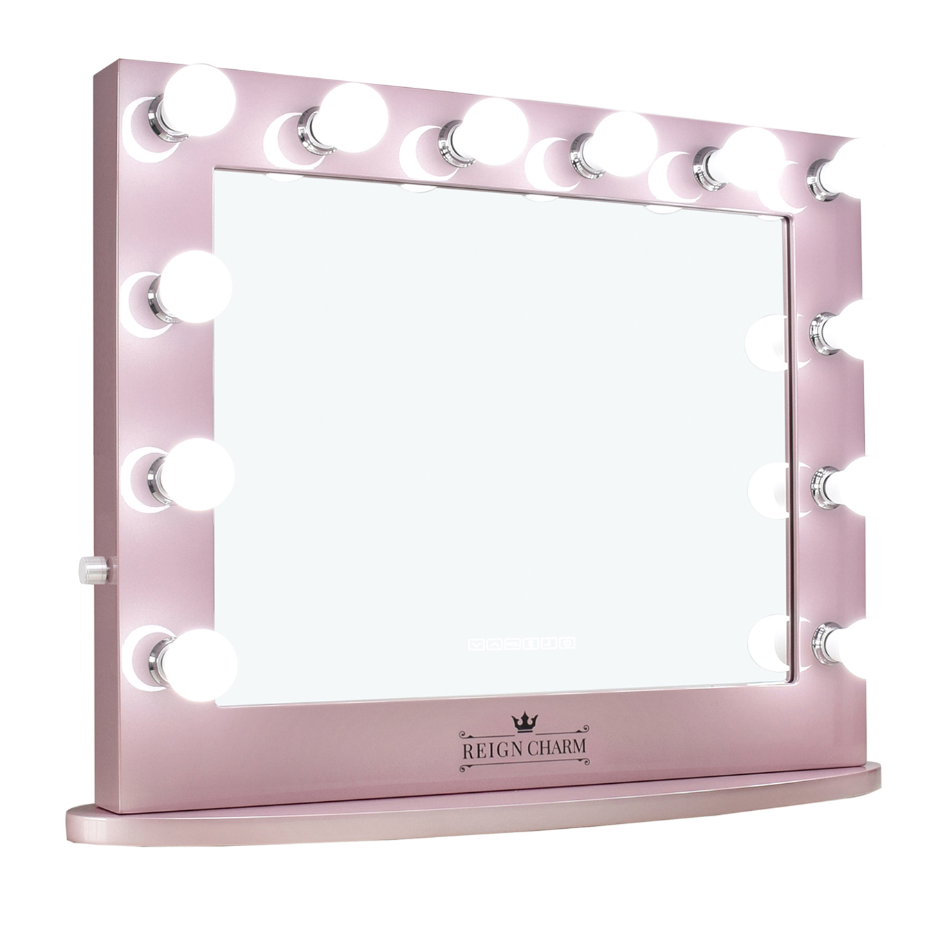 ReignCharm Hollywood Vanity Mirror, 12 LED Lights, Dual Outlets & USB, 32-inches x 27-inches, Rose Gold
