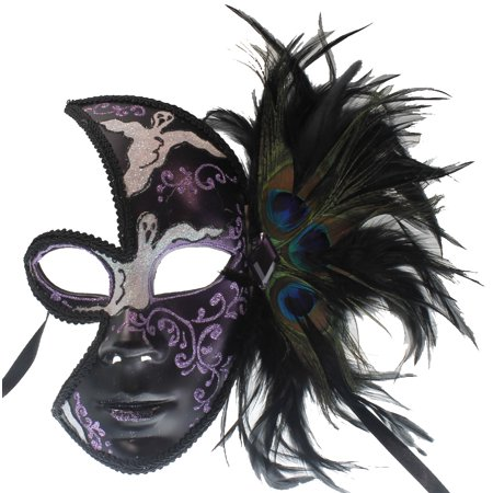 PURPLE BLACK VENETIAN MASK - Ghost Designs - - Purple Venetian Mask