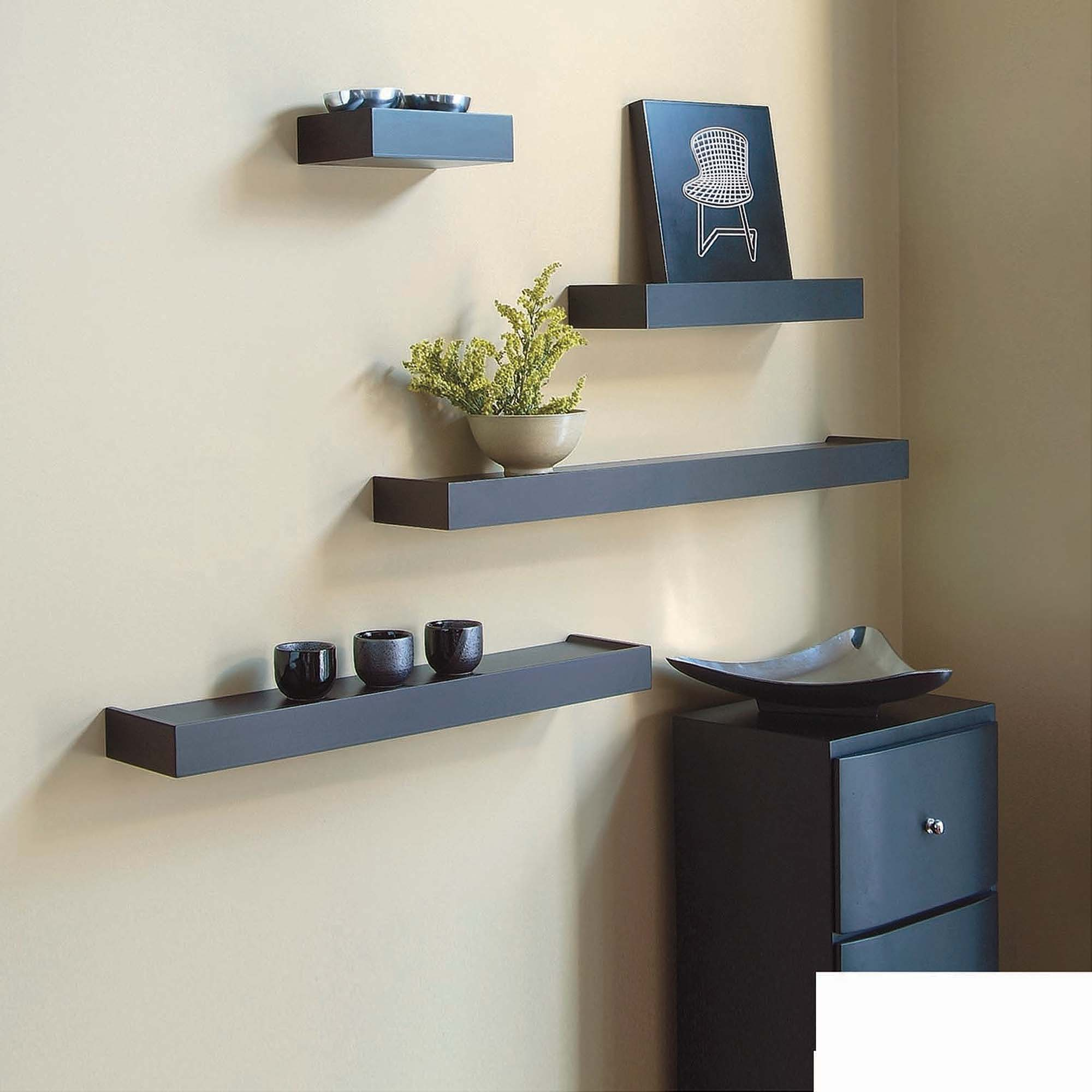 "Kiera Grace Vertigo Set of 4 Black Wall Shelves, 6"", 12"", 20"", 24"""