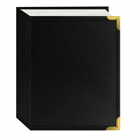 Pioneer Photo Albums 100-Pocket Black Sewn Leatherette Cover with Brass Corner Accents Photo Album, 4 by 6-Inch