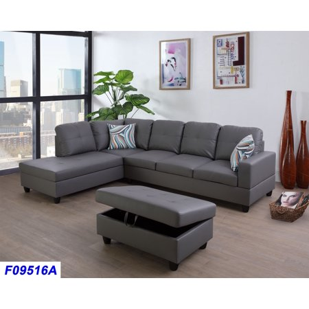 Wellington Faux Leather Sectional Sofa with Ottoman