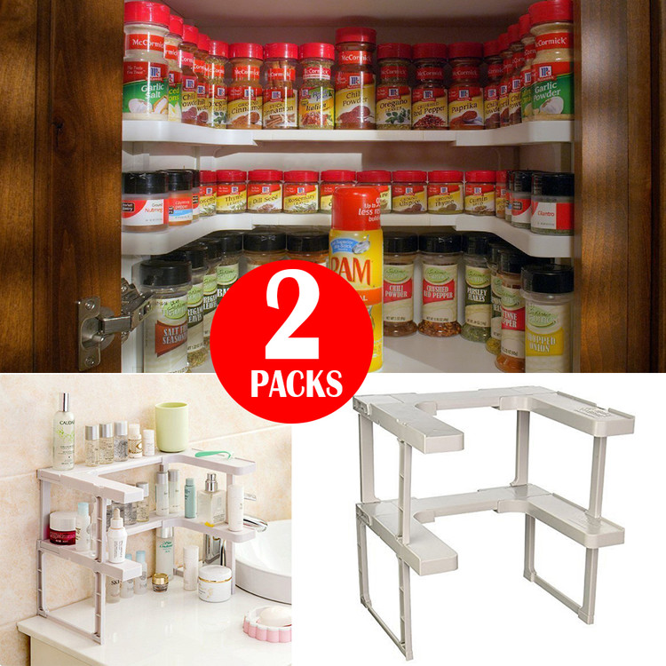 2Packs Adjustable Spicy Rack Patented Spice Shelf and Stackable Organizer