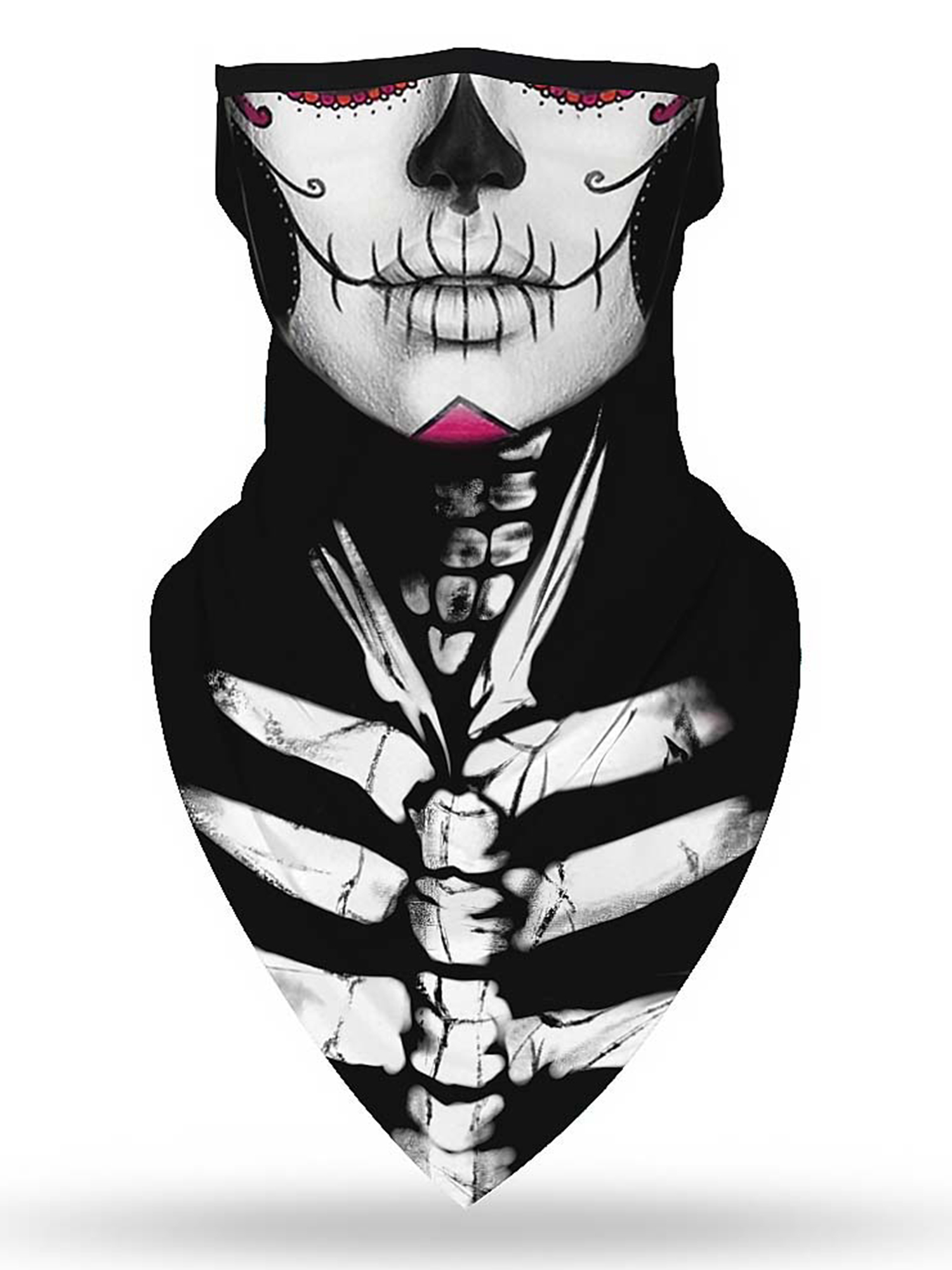 2 x Skull Skeleton Face Mask Neck Tube Scarf Ski Biker Snood Balaclava Bandana