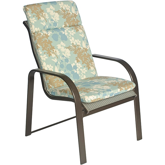 Jeffco Fibres Ali Patio Polyester Blue Floral Smooth Edge Hi-back Outdoor Arm Chair Cushion