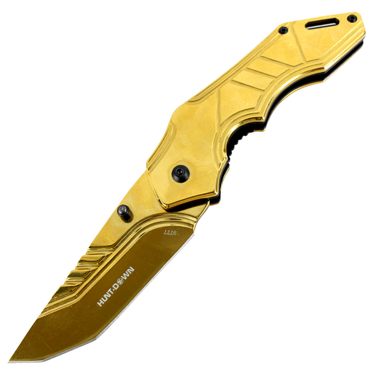 "Hunt-Down 8"" Spring Assisted Folding Knife Tactical Rescue - Gold Blade & Handle"