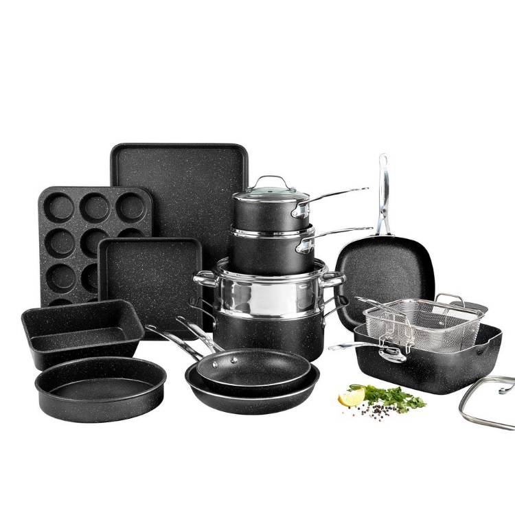 Granitestone Pots and Pans Set, 20 Piece Complete Cookware + Bakeware Set with Ultra Nonstick 100% PFOA Free–Includes Frying Pans, Saucepans, Stock Pots, Steamers, Cookie Sheets and Baking Pans