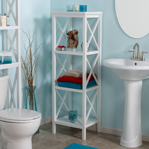 RiverRidge X-Frame 4-Shelf Storage Tower, White