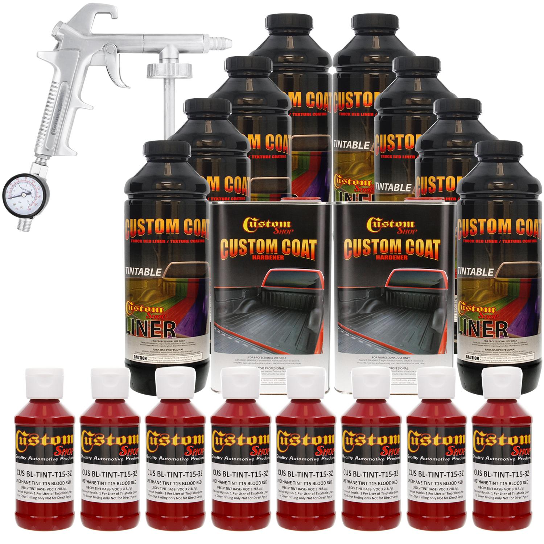 Bed Liner CUSTOM COAT BLOOD RED 8-L Urethane Spray-On Truck Kit w/ Spray Gun