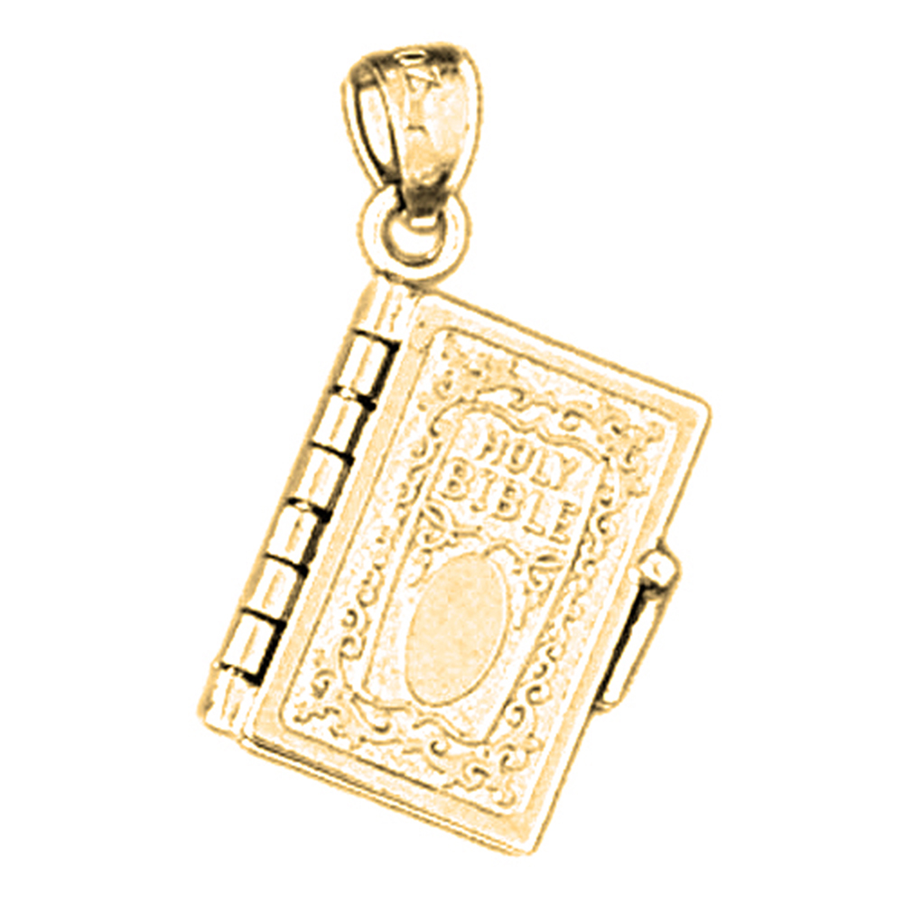 18K Yellow Gold Holy Bible Pendant - 25 mm