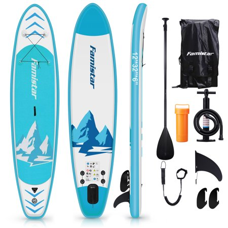 Famistar 12' Inflatable Stand Up Paddle Board SUP w/ 3 Fins, Adjustable Paddle, Pump & Carrying Backpack