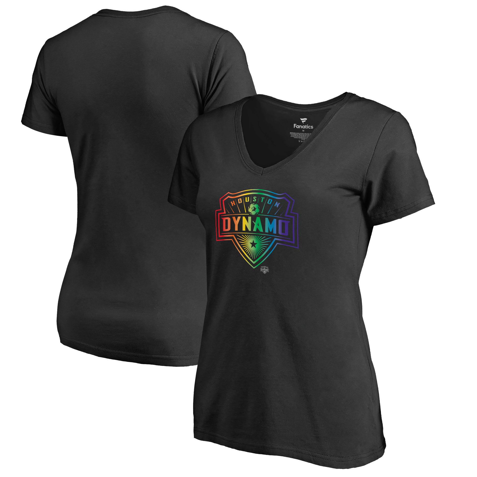 Houston Dynamo Fanatics Branded Women's Team Pride V-Neck T-Shirt - Black