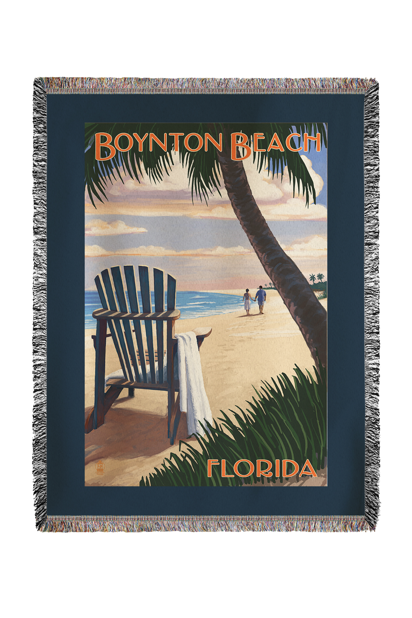 Boynton Beach, Florida Adirondack Chair on the Beach Lantern Press Poster (60x80 Woven Chenille Yarn Blanket) by Lantern Press