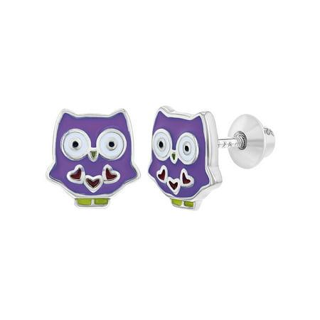 925 Sterling Silver Enamel Owl Earrings Fun Screw Back for Toddlers Girls