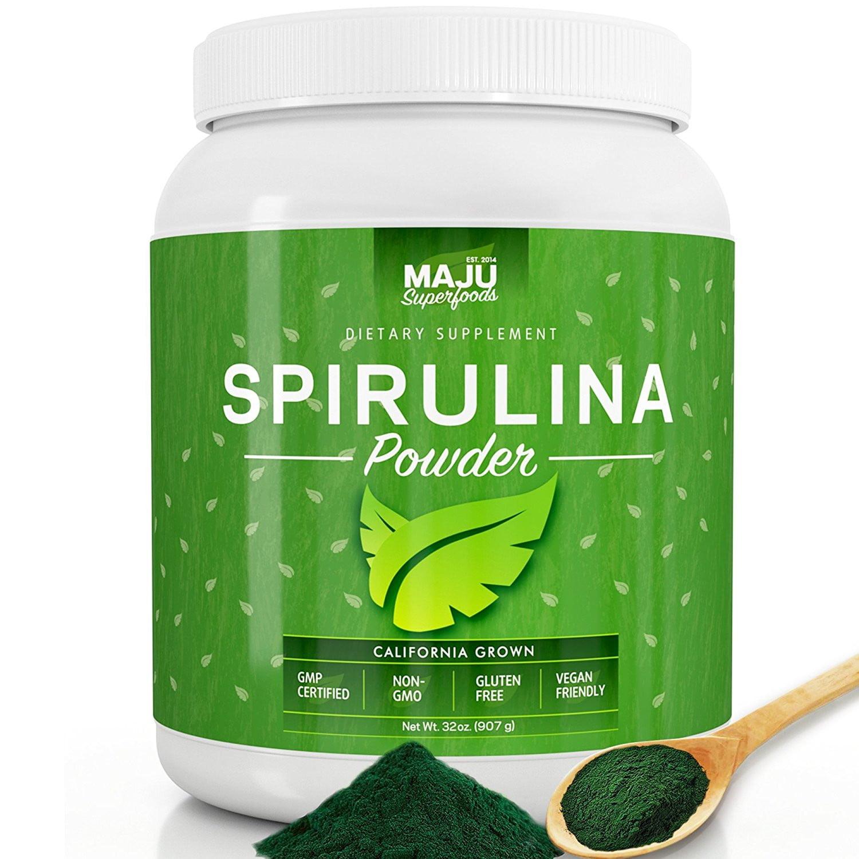 MAJU's California Grown Spirulina Powder (2 POUND): Non-Irradiated, Non-GMO, Vegan, Gluten-free