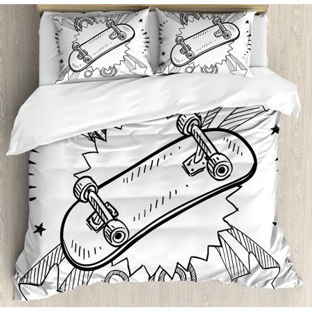 Doodle Duvet Cover (Doodle Duvet Cover Set, Sketch of a Skateboard with Sixties and Seventies Style Pop Art Inspired Background, Decorative Bedding Set with Pillow Shams, Black White, by)