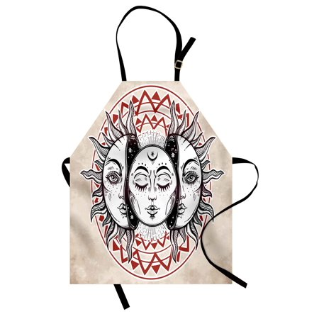 Moon Apron Oriental Eastern Culture Elements with Abstract Style Heavenly Bodies Tattoo Style, Unisex Kitchen Bib Apron with Adjustable Neck for Cooking Baking Gardening, Tan Black Ruby, by Ambesonne](Halloween Tattoos Oriental Trading)